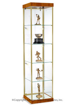 this cherry trophy case for sale comes with both track and canopy lights to ensure that your. Black Bedroom Furniture Sets. Home Design Ideas