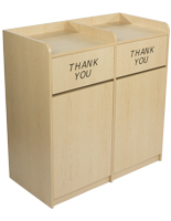 Maple Wooden Restaurant Trash Cans for Food Service