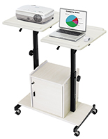 Laptop and Projector Cart with Dual Height Adjustable Shelves