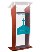 Contemporary Podium with Made-to-Order Artwork and Acrylic Panels