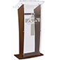 Wood Pulpit with Trinity Cross has Acrylic Top & Front Panel