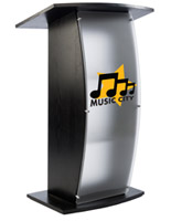 Frosted Plexi Podium with Custom Graphic, Black