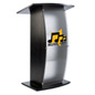 "Frosted Plexi Podium with Custom Graphic, 14"" x 14"" Imprint Area"