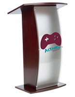 "Clear Acrylic Lecture Stand with 2-Color Imprint, 44.25"" Tall"