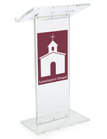 Clear Lectern with Customizable Front and Vinyl Imprinting
