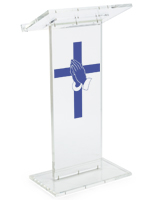Clear Pulpit with Praying Hands Cross Stock Graphic