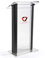 "48"" Tall Clear & Black Podium"