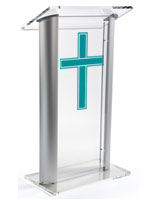 Acrylic Pulpit with Traditional Cross comes with a Cleaning Cloth and  Solution
