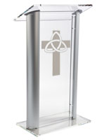 "Acrylic Pulpit with Trinity Cross is 48"" Tall"