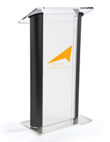 "14"" x 14"" Imprint Area on Modern Clear Podium with Frosted Acrylic"