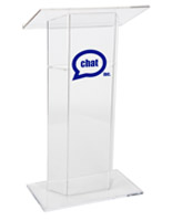 Custom Graphic Plexiglass Lectern, Clear
