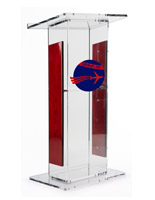 Clear Plexiglass Podium with Custom Graphic with 4 Rubber Feet