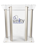 Large Lucite Lectern with 2-Color Graphic, Silver