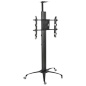 Floor Standing TV Stand With Power Strip & 4 Casters for Offices