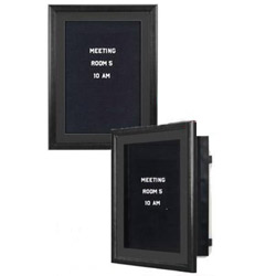 This cork board is a wall display framed in opaque black for Felt letter board replacement panel