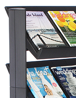 Magazine display with angled shelving
