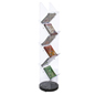 Rotating Acrylic Magazine Stand with Slanted Pockets