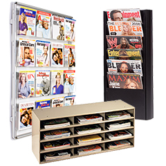 Metal wall & counter magazine holders