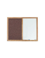 Fabric Bulletin Board with Oak Frame