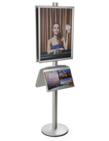 Contemporary 22x28 Snap Poster Stand with 2 Literature Shelves