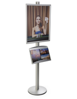22x28 Poster Display Stand with Literature Holder, Height Adjustable