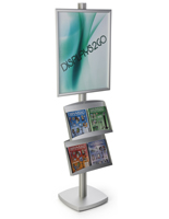 22x28 Metal Poster Stand with 2 Literature Shelves for Retail Outlets
