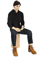 Fair Skin Tone Seated Male Mannequin with Brown Wig