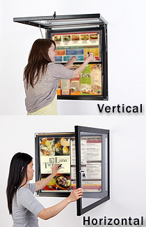 Menu display case exterior rated magnetic bulletin board for Exterior display case
