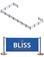 Blue Café Barriers with 2 Color Logo Printing