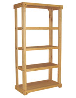 Wood Display Unit with 3 Open Shelves