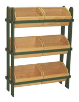 Wood Crate Stand with 6 Removable Bins