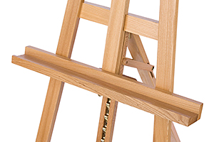 Closeup of a wood easel