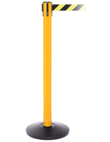 Yellow Retractable Belt Barrier, Black Base