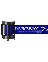 6.5' Long Blue Custom Stanchion Belt with 3 Color Printing