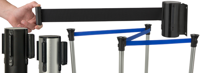 floor standing and wall mount belt stanchions