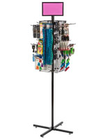 "Rotating Grid Rack with 6"" Pegs Includes 20 Hooks"