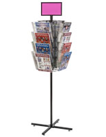 Rotating Grid Rack with Literature Holders Includes Sign Holder