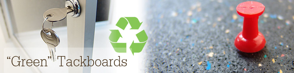 Tackboards with recycled rubber pushpin surfaces