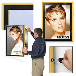 gold swinging poster display