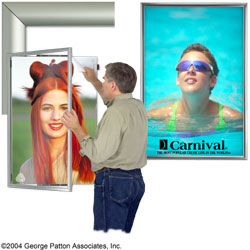 silver swinging poster displays