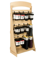 "Plywood Freestanding Slatwall Display with 10"" Black Hooks"
