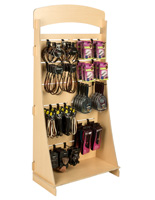 "Plywood Freestanding Slatwall Display with 8"" Black Hooks"