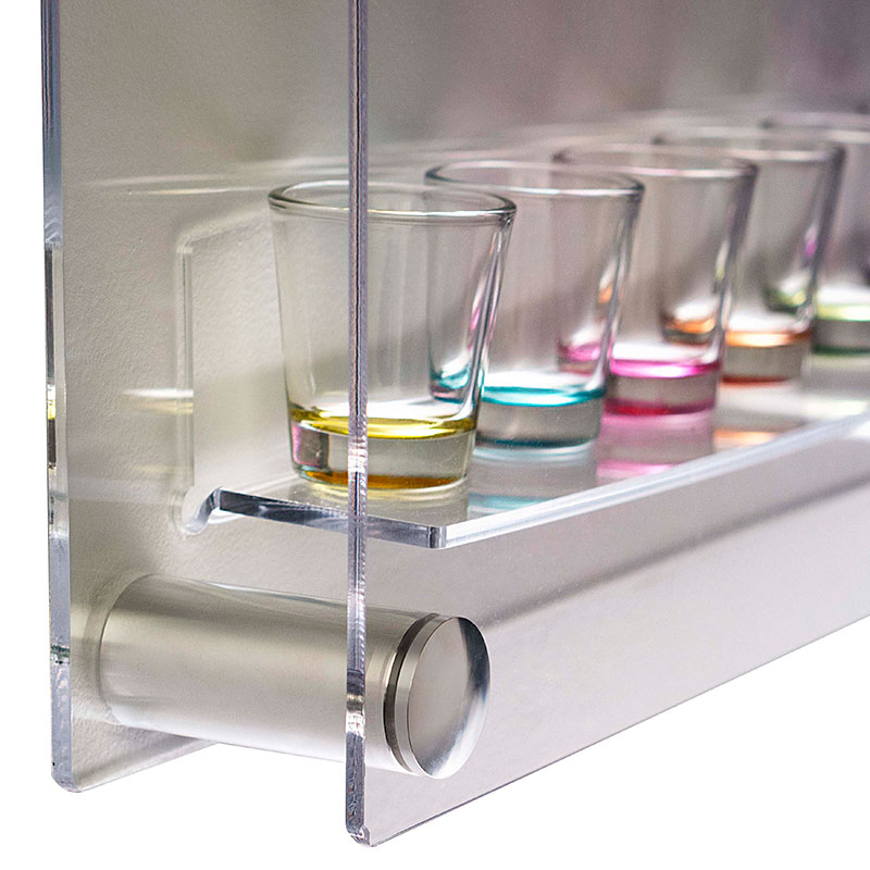 Shot glass collector case with aluminum standoffs