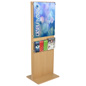Floor Standing Wooden Poster Stand With 5 Brochure Holders