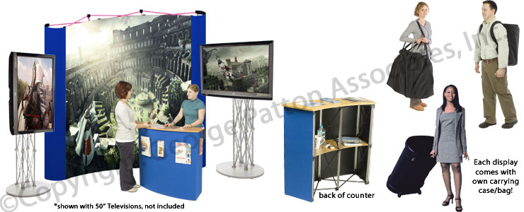 Portable Exhibition Stands Singapore : This tv stand has a trade show counter with inner shelves