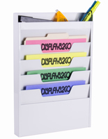 White Wall File With 4 Folder Pockets and Organizer for Mounting or Hanging