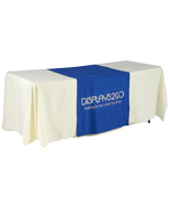 "Metallic Lettering 30"" Blue Table Runner - Flame Retardant"