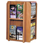 Revolving Wood Magazine Rack for Brochures and Catalogues