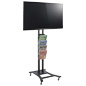 Tilting Black Plasma TV Stand with 4 Clear Literature Pockets