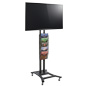 Black Plasma TV Stand with 5 Mesh Literature Pockets for Flat Screens